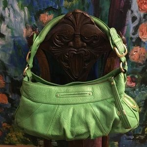 B. Makowsky Leather Handbag in Vibrant Green